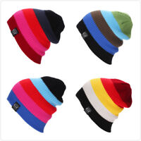 Men's Women Beanie Knit Ski Cap Hip-Hop Blank Color Winter Warm Unisex Hat D