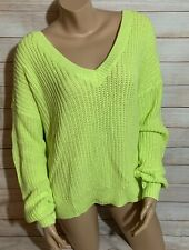 Victorias Secret PINK Womens V-Neck Cozy Knit Pullover Sweater-Neon Lime Green,L