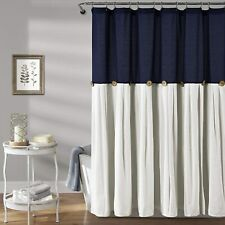 "Lush Decor, Navy & White Linen Button Shower Curtain, 72"" x 72"""
