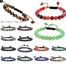 Natural Colorful Tiger Eye Stone Gemstone Bead Adjustable Bracelet Bangle Unisex