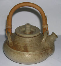 Stoneware Studio Pottery Oriental Style Cane Handle Tea Pot -Clear Makers Mark.