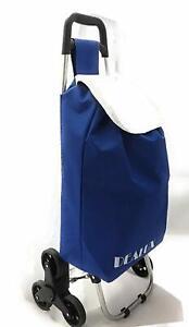 Carrello per La Spesa Leggero e Pieghevole Colore Blu con 6 Ruote Saliscale