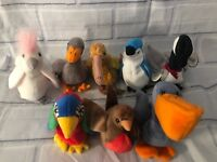 New Lot of 8 Various Birds Beanie Babies- Kuku Jabber Honks Rocket Early Beak