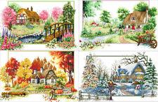 "Stamped Cross Stitch Kit ""Four Seasons Cottage"" set of 4, 24""x15"" x 4 house"