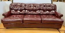 Chesterfield Vintage English Tufted Burgundy Leather Three Seat Sofa Seven Feet