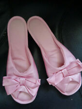Vintage Vanity Fair Pink Nylon Wedge Heel Bedroom Mules Peep Toe Slides 6.5 7.5