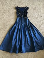 Tadashi Collection Size 6 Navy Midnight Blue Silver Beaded Sequin Long Dress