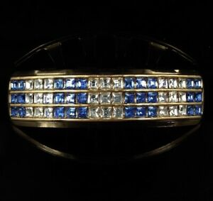 NEW 14k Gold GP Top 6 Tooth Grillz SAPPHIRE BLUE cz Mouth Grills For teeth Bling