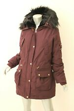 BEBE Burgundy Fur-Trim Hooded Adjustable Parka Coat L