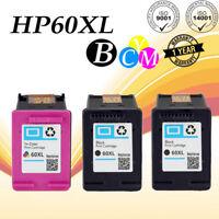 3 pk #60 XL Ink Cartridge Set For HP Deskjet D2530 D2563 D2645 ENVY 100 110 120