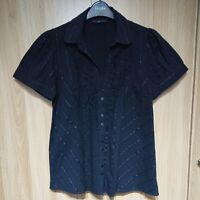 Evans Womens Black Frilly Striped Short Sleeve Cotton Blend Blouse Size 16