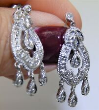 9CT WHITE GOLD DIAMOND CHANDELIER  DROP EARRINGS 9 CARAT