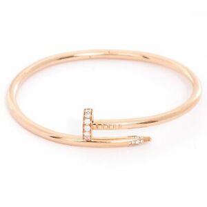 Cartier 18kt Rose Gold Juste Un Clou Diamond Bracelet Bangle-Excellent&Authentic