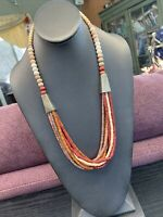 Vintage Multi 8 Strand Multi Natural Color Wood  Beaded Bohemian Long Necklace