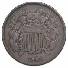 TWO CENT - 1864 US TWO 2 Cent Piece - First Coin with In God We Trust Motto *337