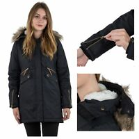 Trespass Womens Parka Jacket Waterproof Longline Coat Faux Fur Hood