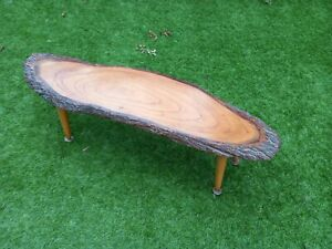 Vintage retro live edge Solid Oak wooden coffee table. 70's