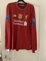 Salah Champions Liverpool Shirt Long Sleeve Medium 100% Authentic Guaranteed