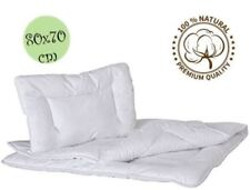 LUXURY 100% COTTON WHITE QUILTED DUVET 80x70cm & PILLOW CRIB FILLING