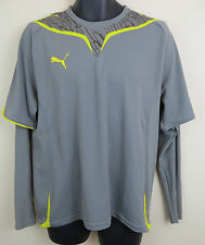 Puma Football Shirt Soccer Jersey Grey Training Top Skjorte Trikot Mens L Large