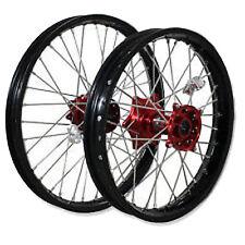 "Xtech Motorbike Wheel Rear 19""x2.15 Suits Honda CRF450R 02-12 Red Hub Silver Spo"