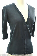 URBAN BEHAVIOR COTTON Black Glitter CARDIGAN Thin SWEATER V-NECK 3/4 Sleeve SZ L