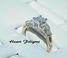 Filigree Ring Size 5.75 Multitone 14K .50Ct Princess Diamond Solitaire Heart