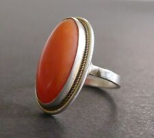 Vintage Natural Red Coral Cabochon Silver Ring Size 6 Antique Victorian