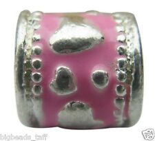 Pink Alloy Spacer Bead Fit European Charm Chains