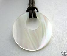 Anhänger Kette Perlmutt  Donut weiß Mineralien rund Lederband