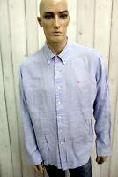 RALPH LAUREN Camicia Taglia XL Lino Celeste Uomo Shirt Casual Manica Lunga