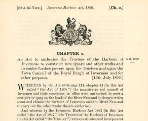 Antique Act of Parliament Harbour of Inverness New Quays & Works 1899 politics