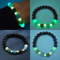 Unisex Luminous Lava Stone Round Beads Bracelet Elastic Bangle Chain Jewelry