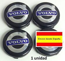 1 x VOLVO Llanta Aleación Centro Tapacubos 64mm Negro Azul C70 S60 V60 V70 S80