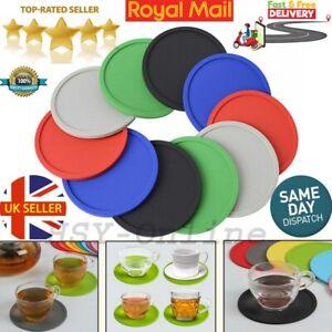 4 8 Durable Round Silicone Mats Coaster Premium Rubber Holder Coffee Tea Mug Mat
