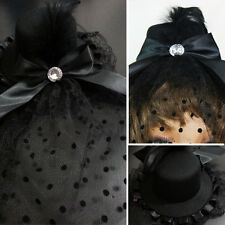 Burlesque CZ Jewel Gothic Victorian Black Top Hat w/Birdcage Black Feathers/Mesh