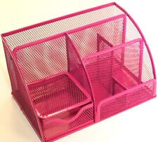 Pink mesh desktop desk tidy multifunctional high quality display pen stand
