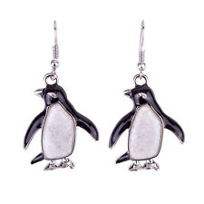 Penguin Fashionable Earrings - Enamel - Fish Hook - Mother of Pearl Shell
