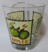 Cerve Old Times Tumbler Glass Fruit Stamp Design U-Pick Green Apples VTG Italy