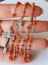 ANCIENT SILVER STERLING CORAL ROSARY CHAPELET ANCIEN ARGENT MASSIF ET CORAIL