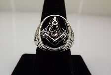 Stainless Steel Enamel MASONIC Square & Compass Blue Lodge RING 15.4Gr Size 10