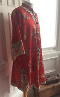 "Vintage 100 Silk Chinese Embroidered Coat Jacket Gown Drama Costume Kimono M 44"""