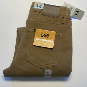Lee Boys Jean Soft Fleece Bonded For Warmth, Straight Fit Size 14 Brown