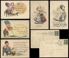 ARTIST BERNHARDT WALL 1911-13 PPCs BOY + GIRL...DUTCH...CLOGS...5 CARDS