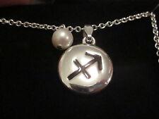 AVON Zodiac Pendant Necklace Genuine Freshwater Pearl Silvertone SAGITTARIUS