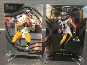 Pittsburgh Steelers lot of 2 Terry Bradshaw Troy Polamalu Panini Select NFL 2020