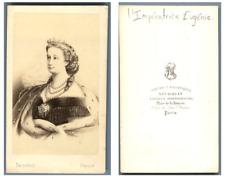 Impératrice Eugènie vintage carte de visite, CDV,  CDV, tirage albuminé, 6 x 1