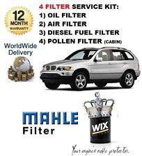 FOR BMW X5 3.0 TD 2001-2003 NEW OIL AIR FUEL POLLEN 4 FILTER SET SERVICE KIT