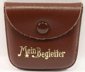 Etui Rosenkranz RINGELE ALFRED Leder Braun Spruch Gold Mein Begleiter 55x60mm