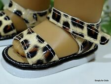 """TAN & BROWN Leopard Print DOLL SANDALS SHOES fits 18"""" AMERICAN GIRL DOLL C/Z"""